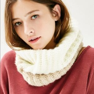Urban Outfitters Fuzzy Funnel Scarf White Tan